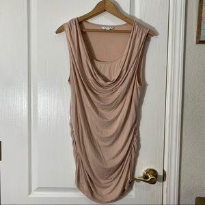 Pink Cowl neck rouched mini dress